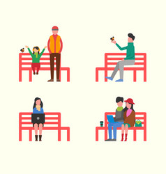 Man and woman couple sitting on wooden bench vector