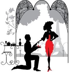 Man proposes a woman vector