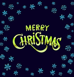 Merry Christmas green glittering lettering design vector image