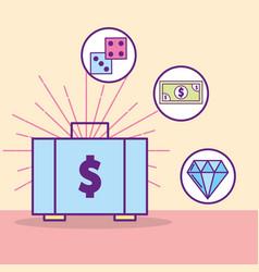 Money suitcase dices banknote diamond treasure vector