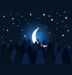 Moon in fir trees flat midnight a crescent vector