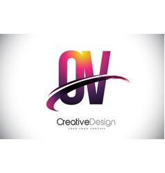 Ov o v purple letter logo with swoosh design vector