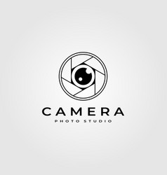 Photography lens logo minimalist design vector