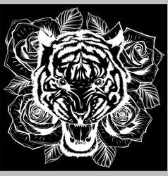 roaring tiger head vector image