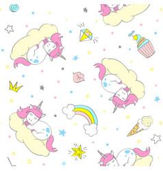 seamless cute unicorn pattern vector image