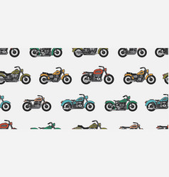 seamless pattern with vintage motorcycles vector image