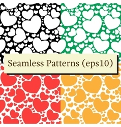 Seamless patterns set with hearts vector image