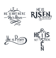 Set easter letterings - he is risen vector