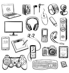 set hand drawn gadget icons vector image