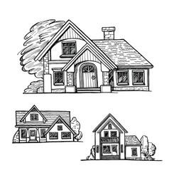 set of a cottage sketch vector image