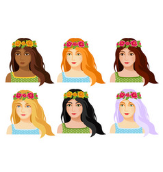 Set of beautiful woman faces with flower diadem vector
