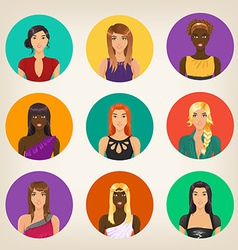 set of nine different avatars in modern style vector image vector image