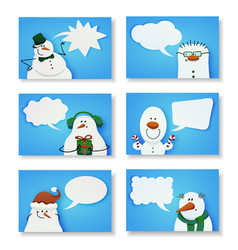 set of six cute snowmen vector image