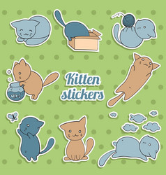 set of stickers with cute kittens on green vector image