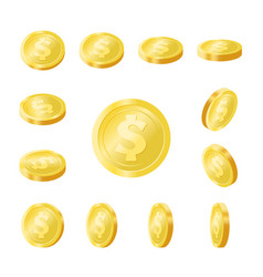 shiny golden coins isolated icons set vector image
