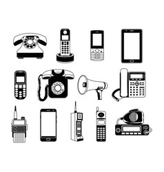 silhouette of telephones and smartphones vector image