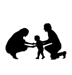 Silhouette parents with little son first steps vector