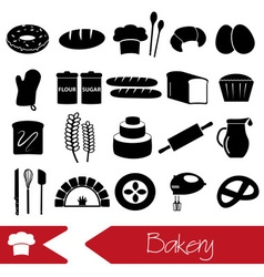 simple black bakery items icons set eps10 vector image