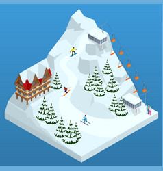 ski resort slope people on the ski lift skiers vector image