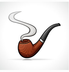 Smoking pipe isolated drawing vector