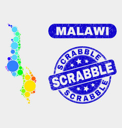 Spectrum mosaic malawi map and scratched scrabble vector