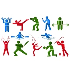 Sports people in various poses boxer golfer vector image