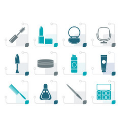 Stylized cosmetic and make up icons vector
