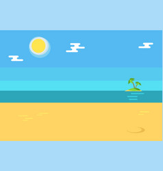 Summertime background with seashore island palms vector
