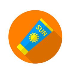 Sun care sun protection sunscreen tube flat icon vector