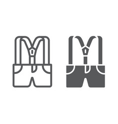 suspenders with pants line and glyph icon clothes vector image