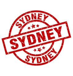 Sydney red round grunge stamp vector