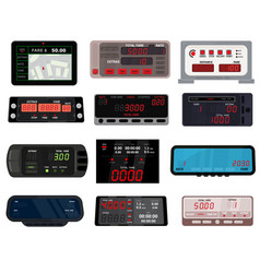 Taximeter cab car fare taxi meter device vector