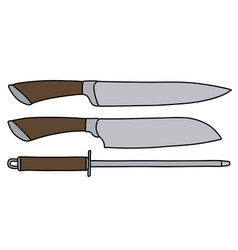 the set of large kitchen knives vector image
