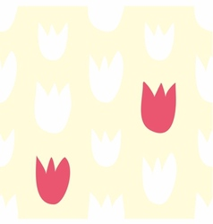 Tile pattern with hand drawn tulip flowers vector image