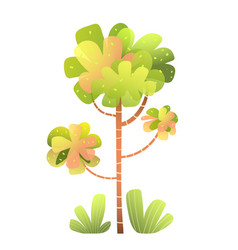 Trees and bushes isolated clipart for children vector