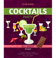 Tropical cocktails night party invitation poster vector image