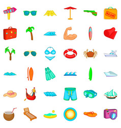 umbrella icons set cartoon style vector image