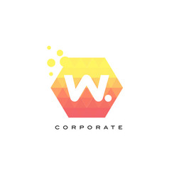 w orange hexagon shaped letter logo with bubbles vector image