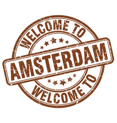 Welcome to amsterdam brown round vintage stamp vector