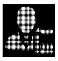 White halftone capitalist oligarch icon vector