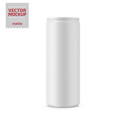 white matte energy drink can mockup vector image