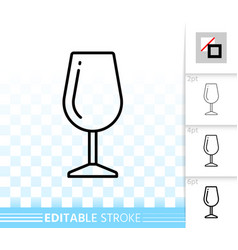 Wine glass simple black line icon vector