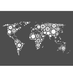 World map mosaic of cog wheels vector image vector image
