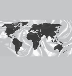 world outline on silk background vector image