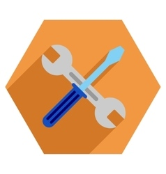 Wrench And Screwdriver Flat Hexagon Icon with Long vector