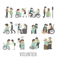 Young volunteer set eps10 format vector image