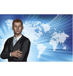 businessman abstract world map background vector image vector image