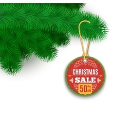 Fir Branches And Sale Label vector image