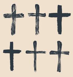 grunge religious baptism christian crosses vector image