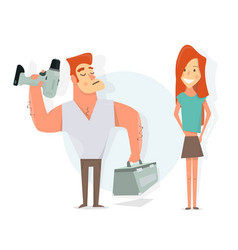 handyman to call a repairman girl and worker vector image vector image